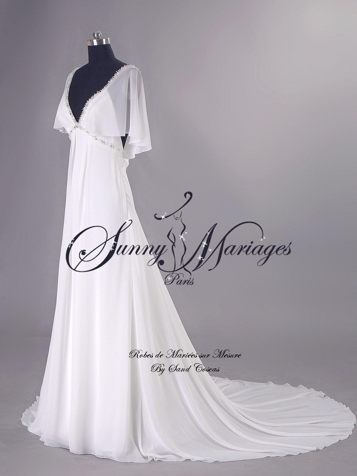 robe de mariage empire boheme chic en mousseline sur mesure  Sunny ...