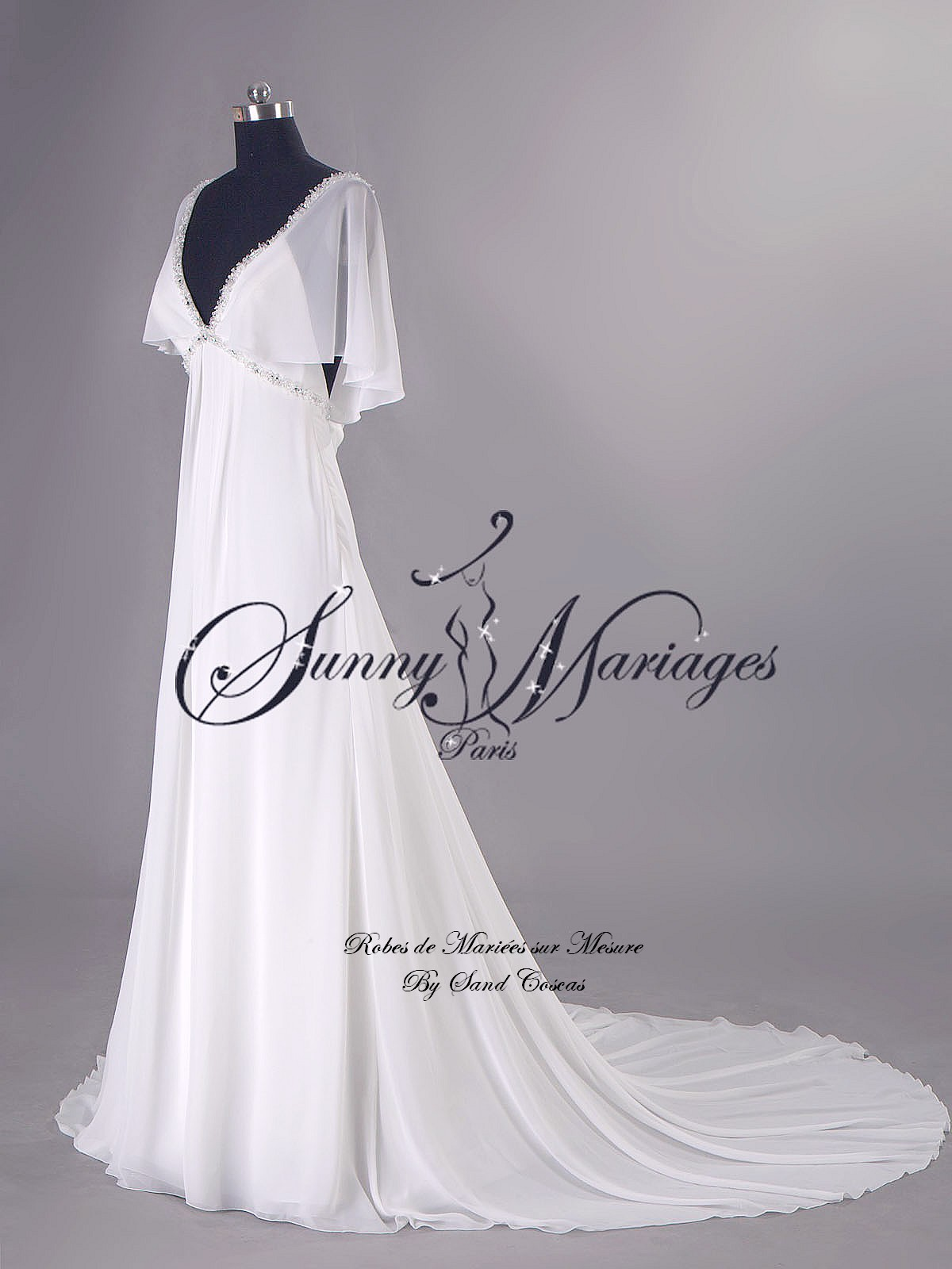 robes de mariee empire boheme chic fluide en mousseline SUNNY MARIAGES ...