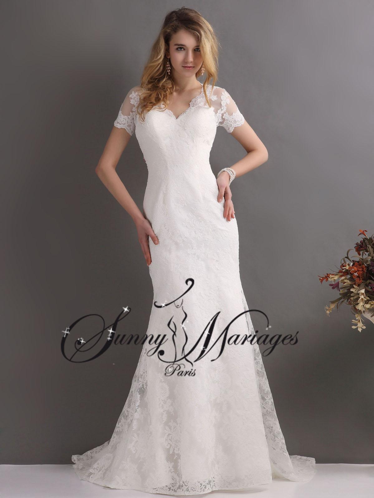 Robes de mariee manches dentelle sur mesure pas cher for Boîtes pour robes de mariée