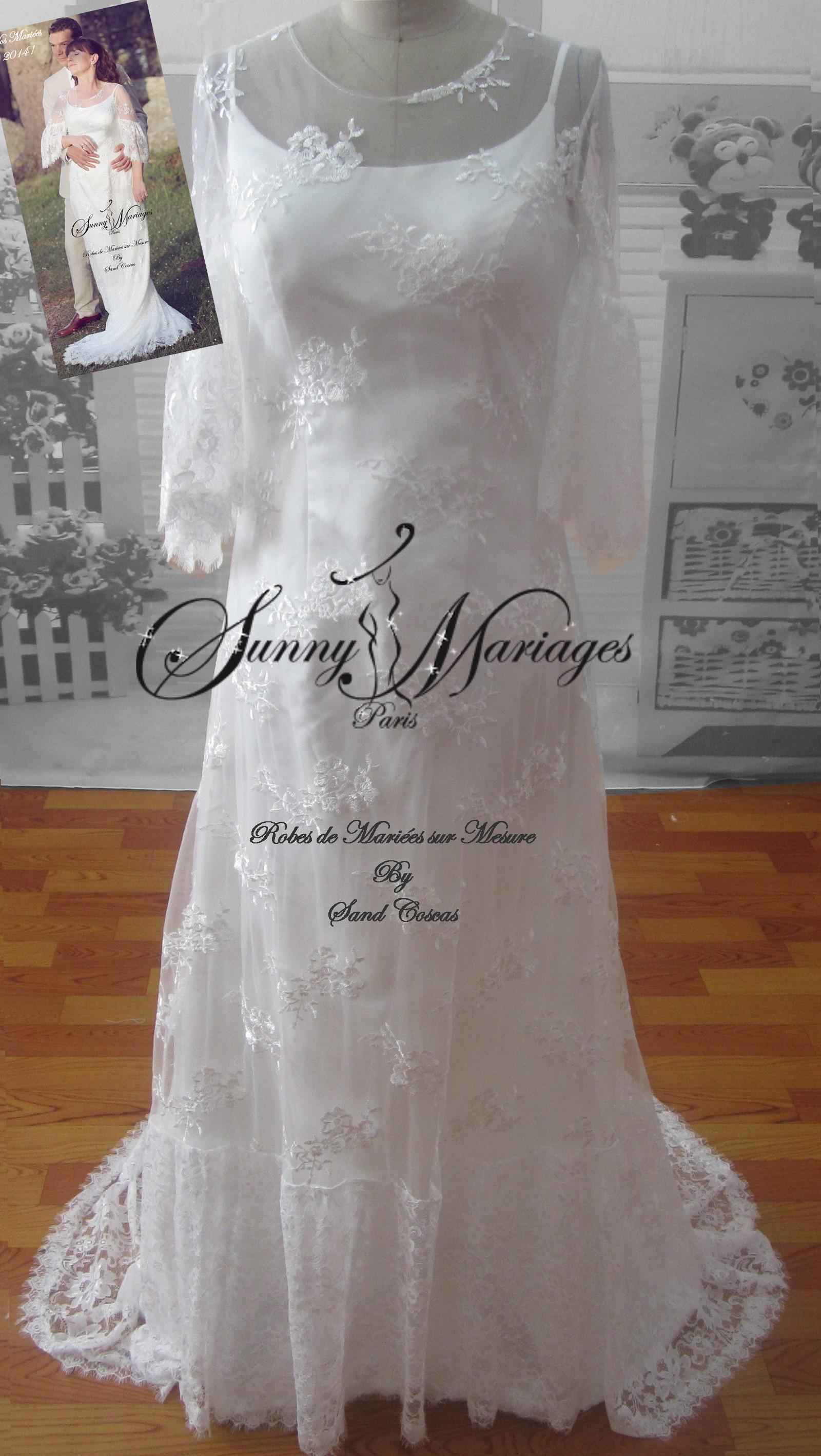 Robe de mariée romantique dentelle et manches longues  f3947352764