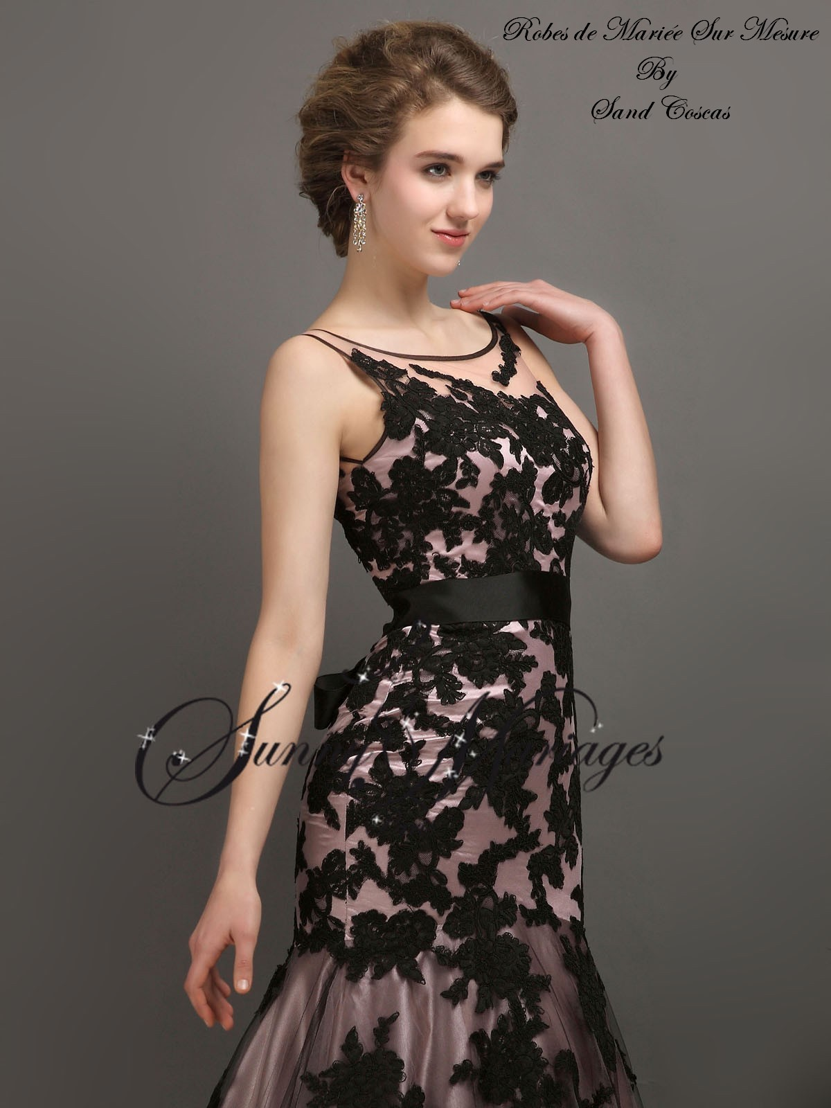 robe de mari e couleur dentelle noire coupe sirene sunny mariage. Black Bedroom Furniture Sets. Home Design Ideas