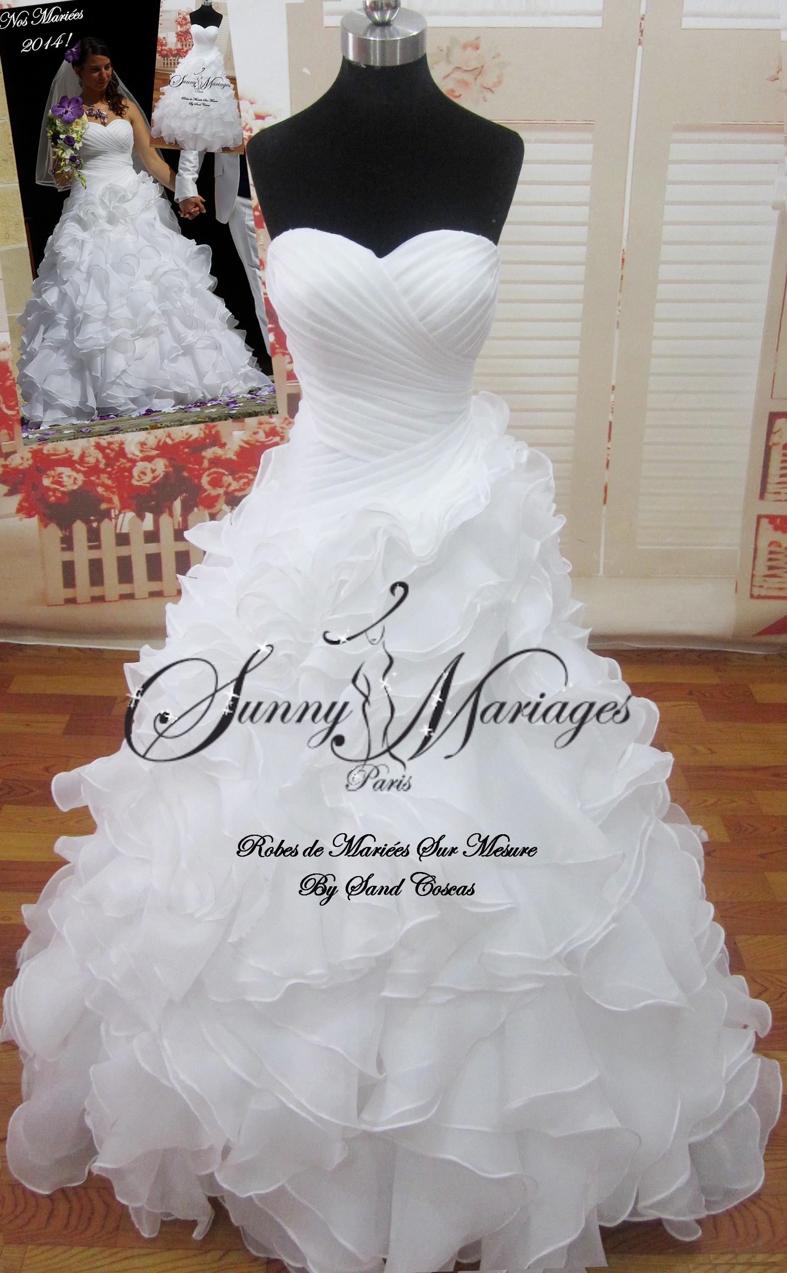 robe de mariee froufrou bustier drappé jupe frou frou SUNNY MARIAGES ...