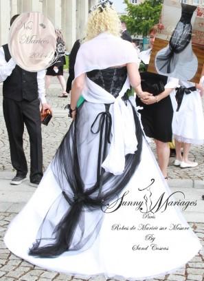 robe de mariee noir et blanc ou rouge et blanc sur mesure sunny mariages paris sunny mariage. Black Bedroom Furniture Sets. Home Design Ideas