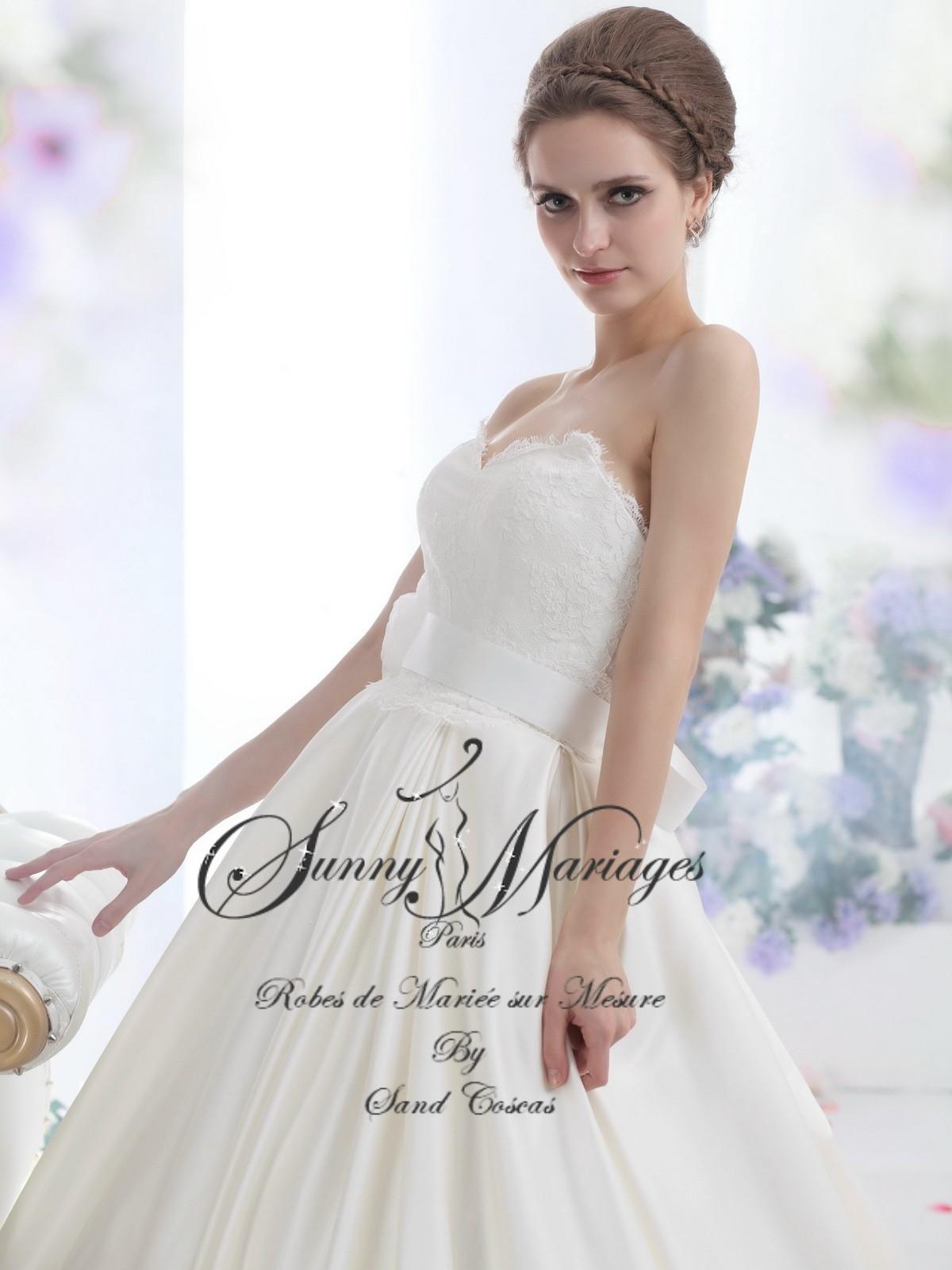 robes de mariée coupe princesse bustier dentelle Sunny Mariages Paris ...