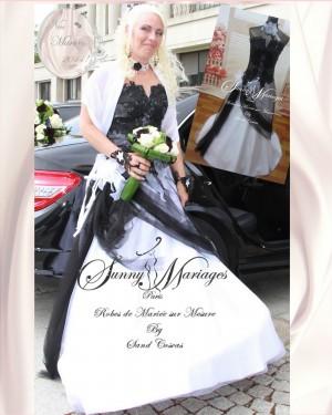 Robe de mari e bustier couleur noire et blanche sunny mariage - Robe de mariee rouge et noir ...