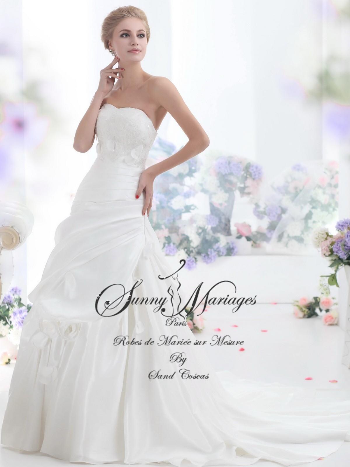 robes de mariée taffetas et bustier dentelle SUNNY MARIAGES PARIS sur ...