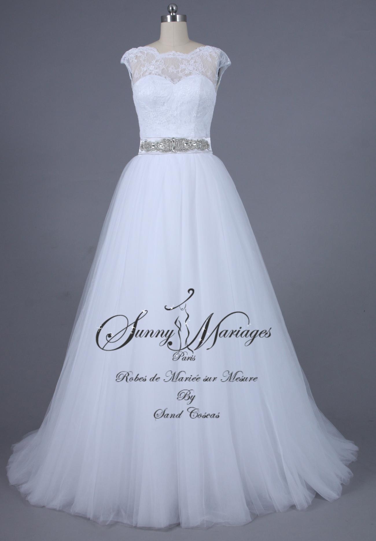 robes de mariée tulle et dentelle ceinture strass (1).jpgbis  Sunny ...