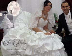 robe de mariee princesse bustier strass jupe en satin bouillons