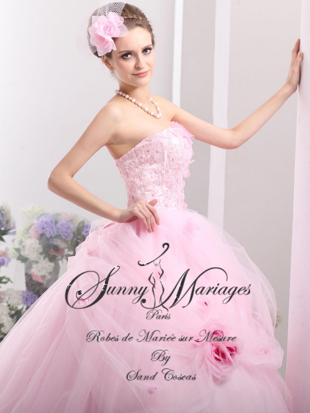 robes de mariée de prestige organza et dentelle coloris rose ...