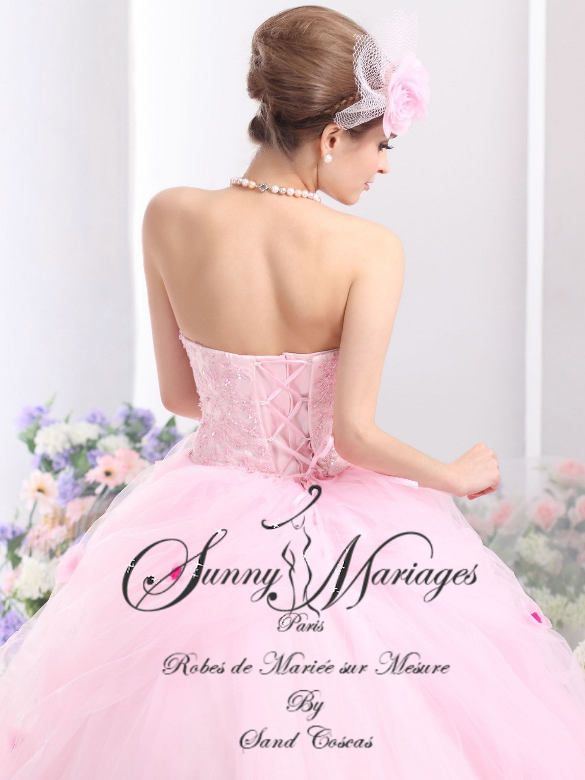 robes de mariee princesse en organza rose existe en plusieurs coloris sur mesure pas cher
