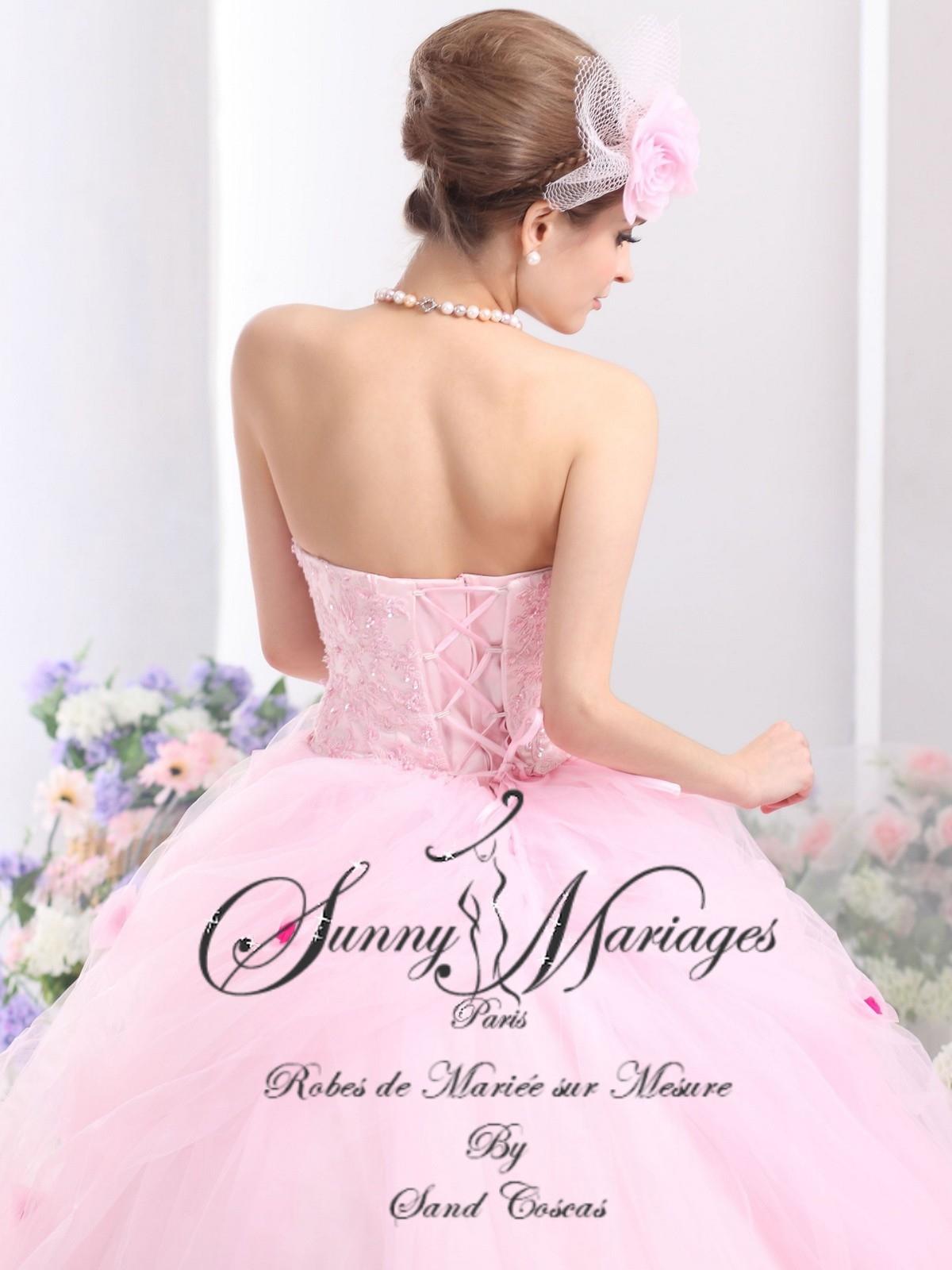 robes-de-mariee-princesse-en-organza-rose-existe-en-plusieurs-coloris ...