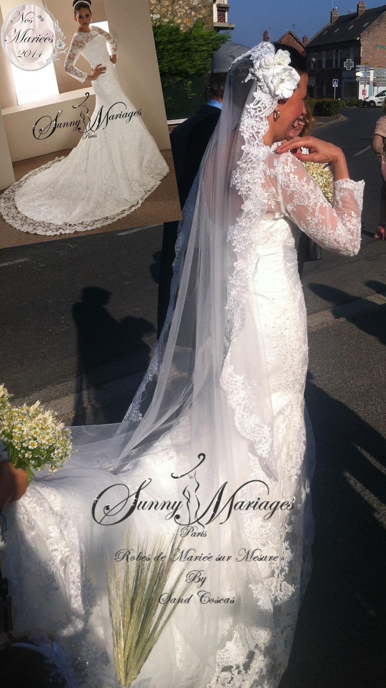robe de mariee manches et dentelle avec voile long espagnol sur mesure
