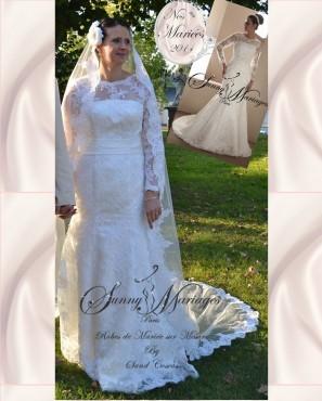 Robes de mariage dentelle manches longues sunny mariage for Prix de robe de mariage nicole