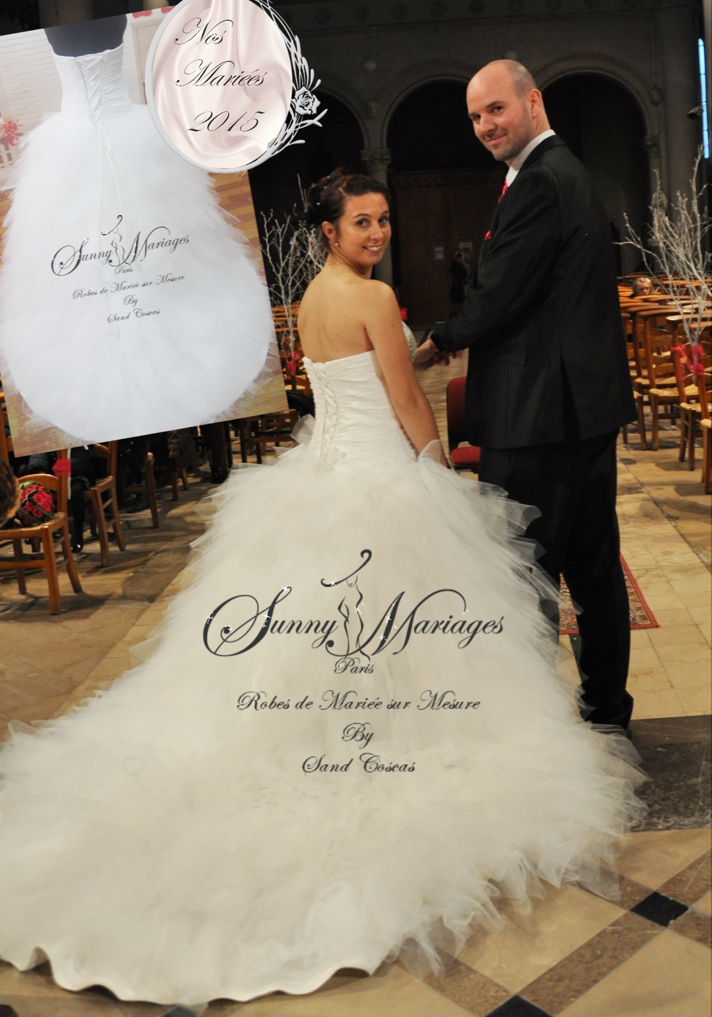 robe de mariee en tulle lacage au dos sur mesure couleur blanc, ivoire ...