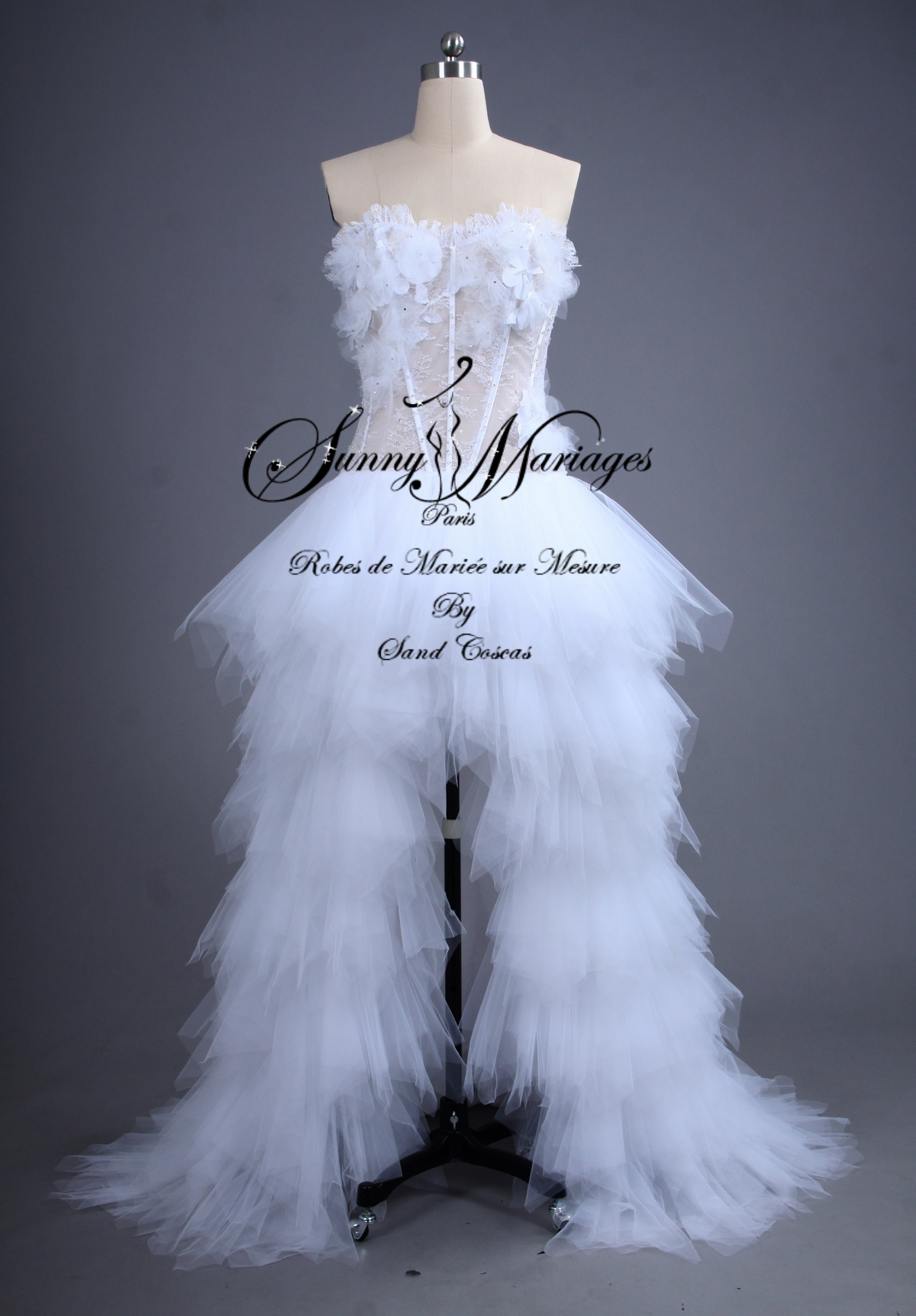 robe de mariée bustier , tulle