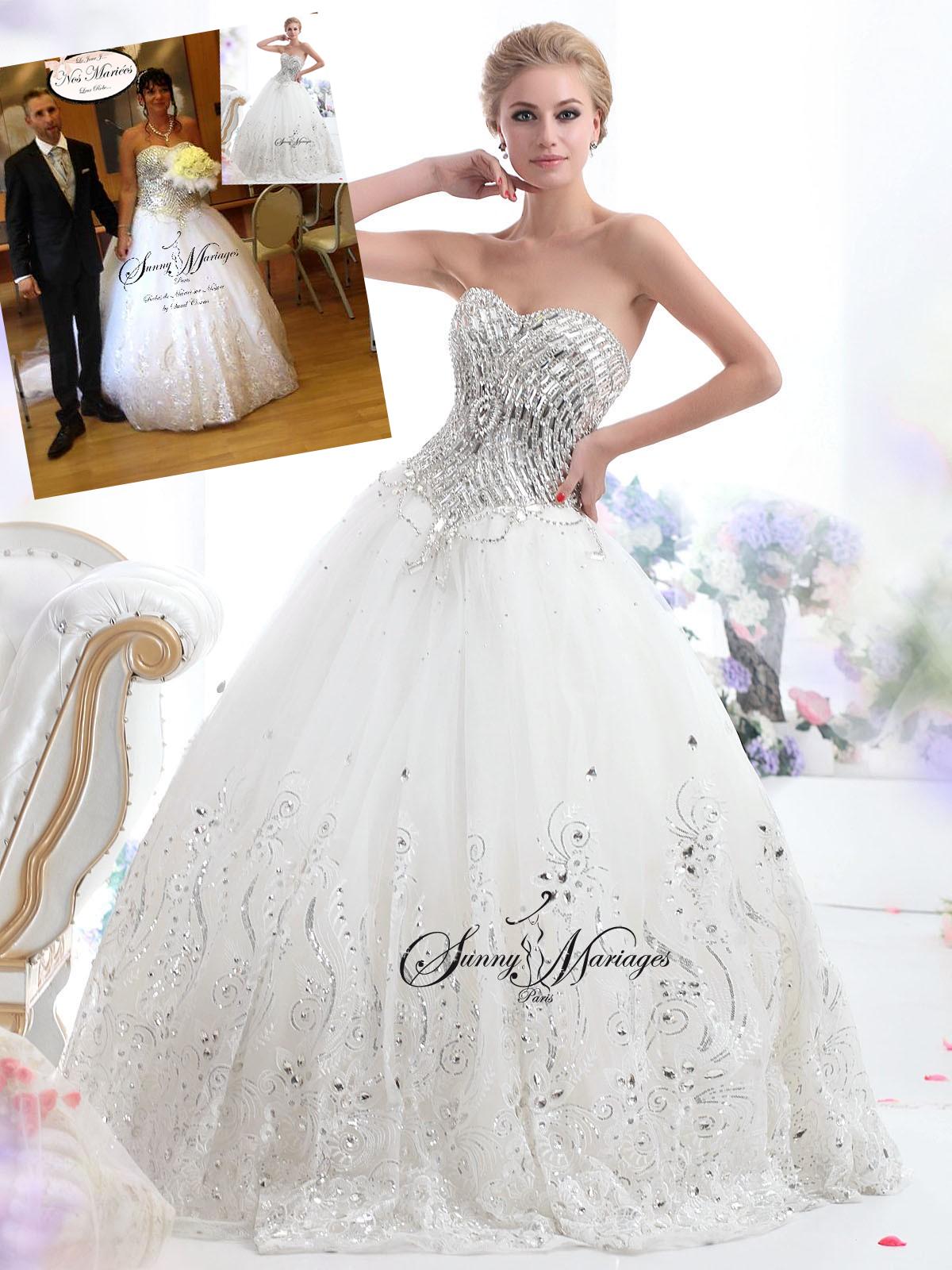 Robe de mari e princesse bustier strass zina for Mariage robe destination mariage