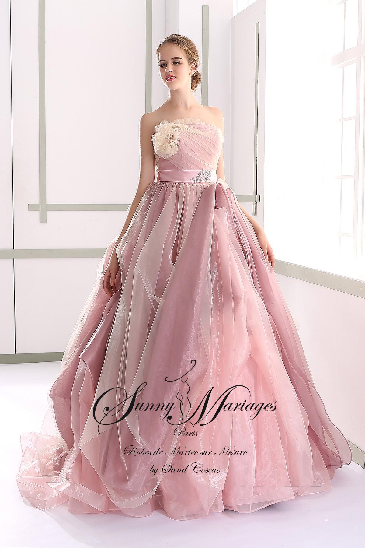 robe de mari e princesse couleur rose poudr sunny mariage