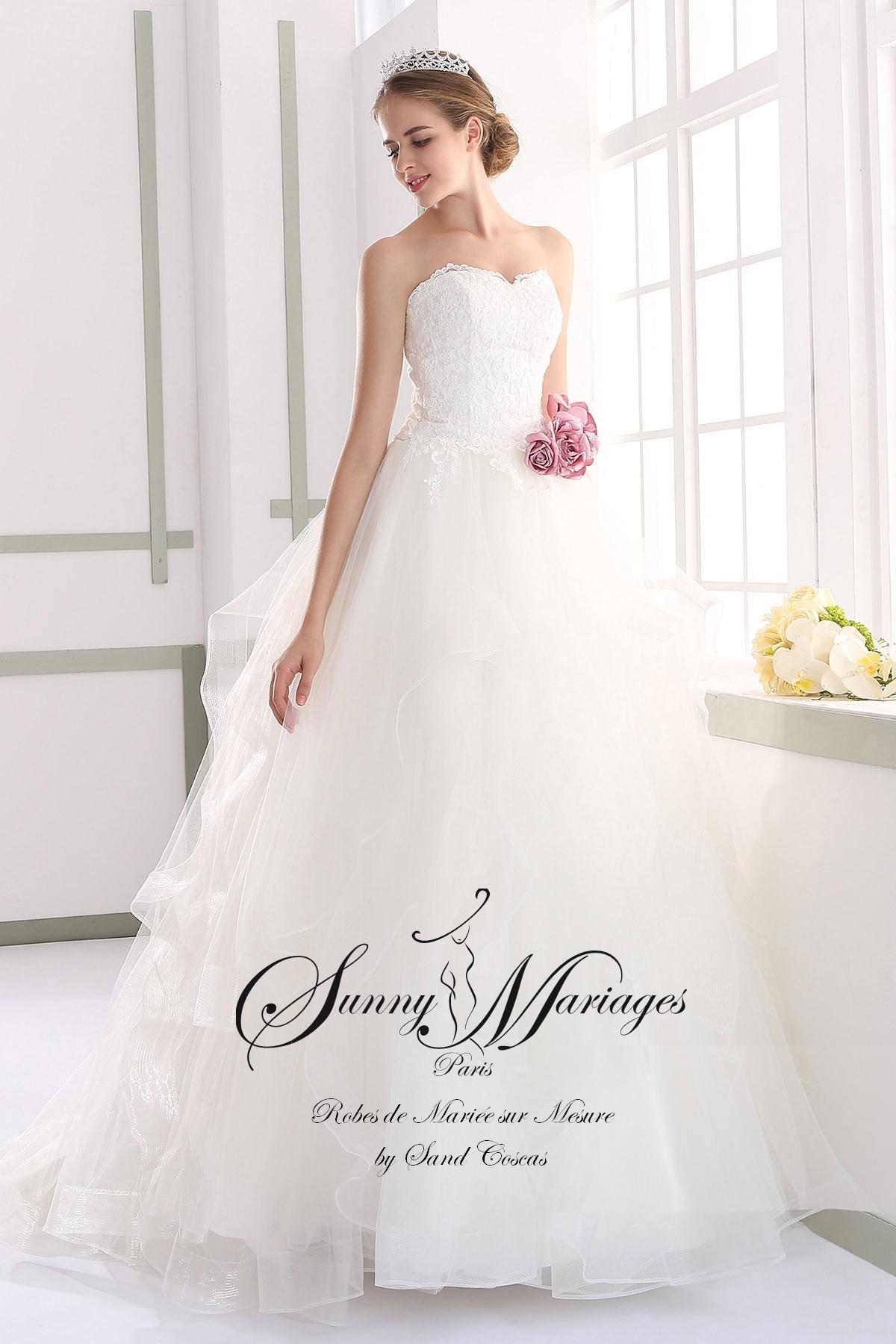 Robe de mari e princesse bustier dentelle pierrette for Robes de mariage de juin