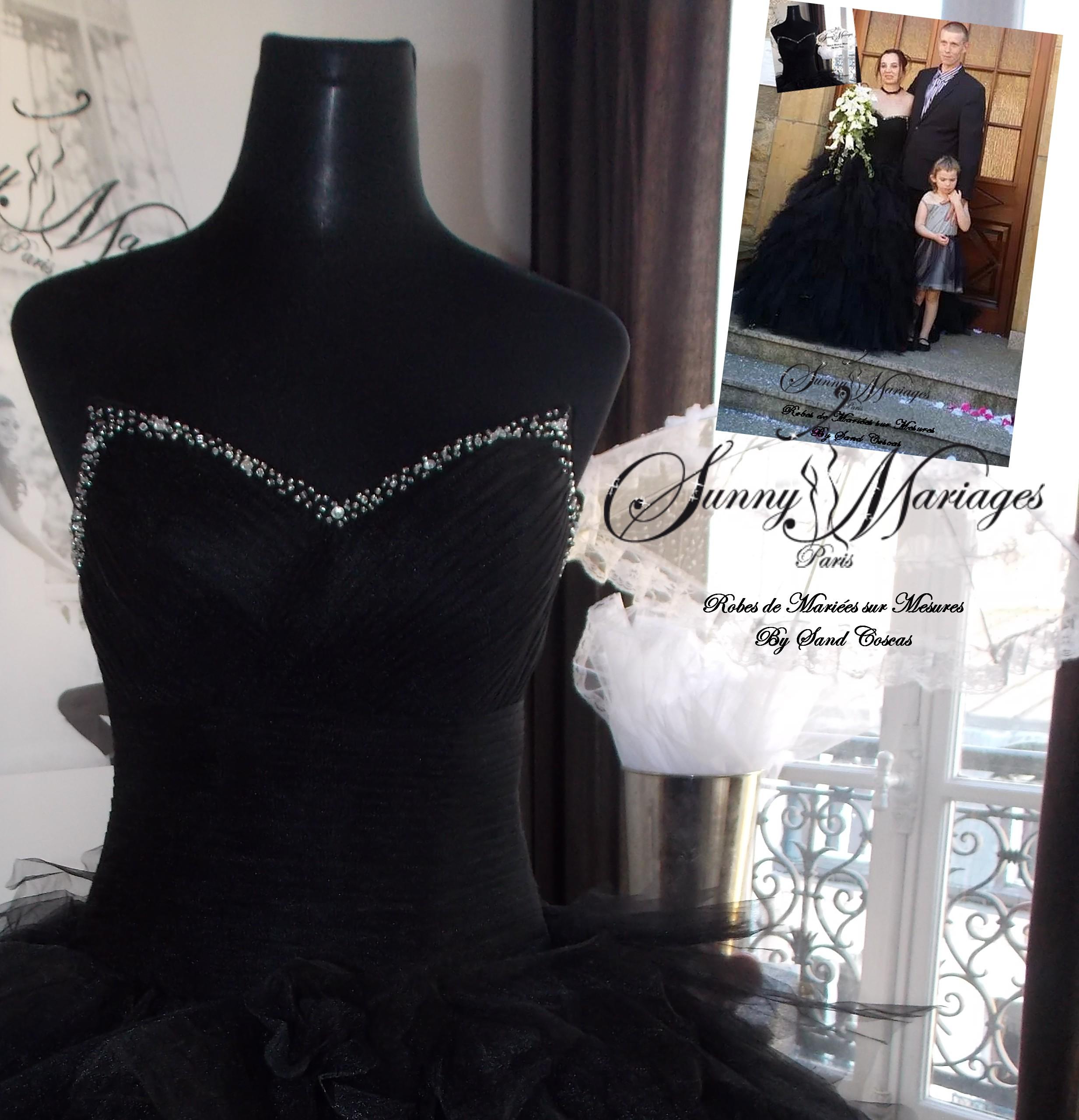 Robe de marie noire pas cher vente en ligne ou sur r v sunny mariage - Robe de mariee strass ...