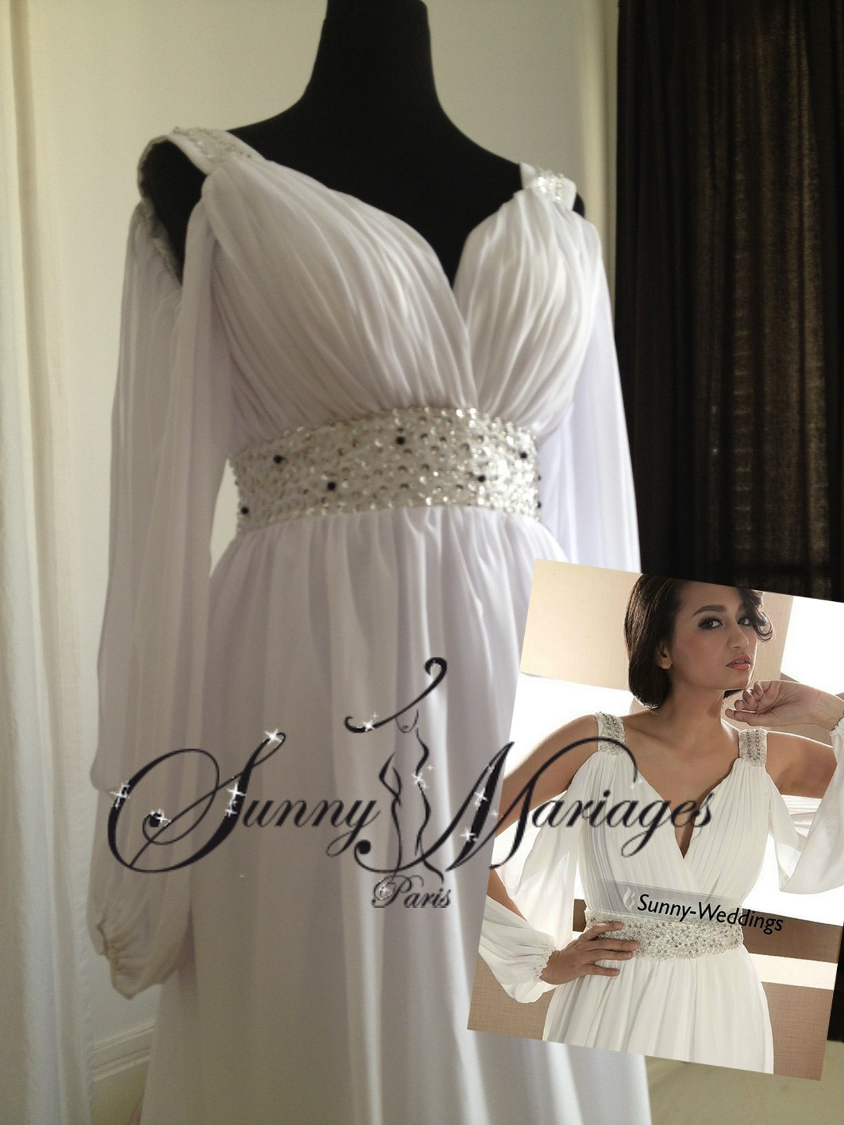 robes de mariage coupe empire avec manches sunny mariage. Black Bedroom Furniture Sets. Home Design Ideas