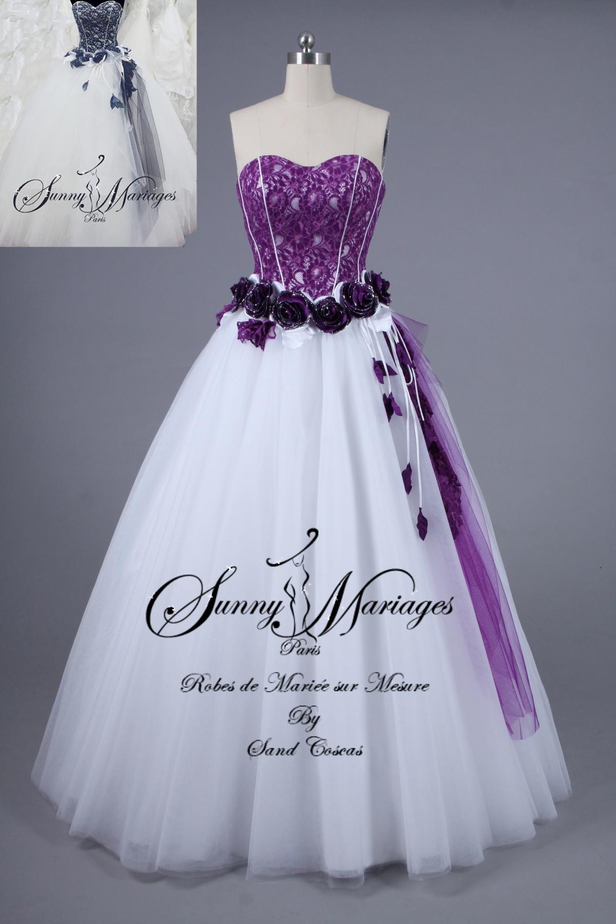 Robe de mari e noire et blanche pas cher et en ligne for Robes violettes plus la taille pour les mariages
