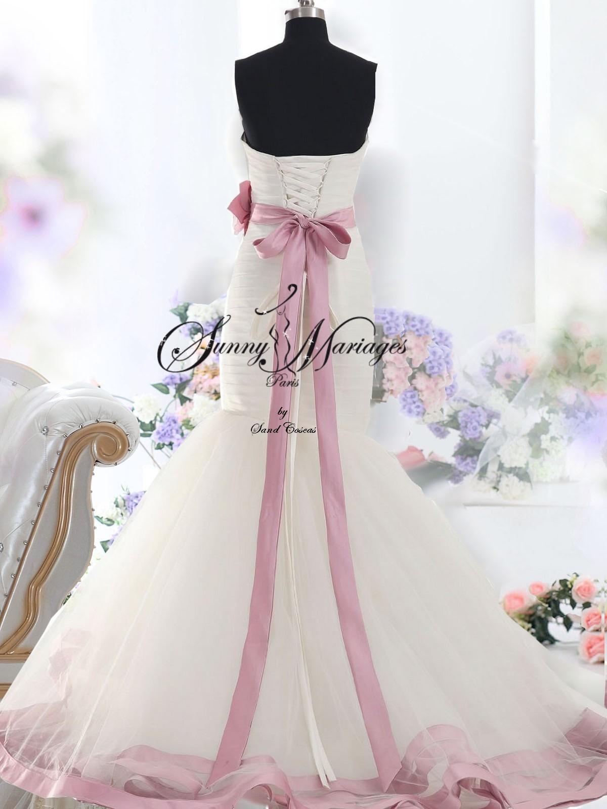 robe de mariee pas chere rose et blanche forme sirene
