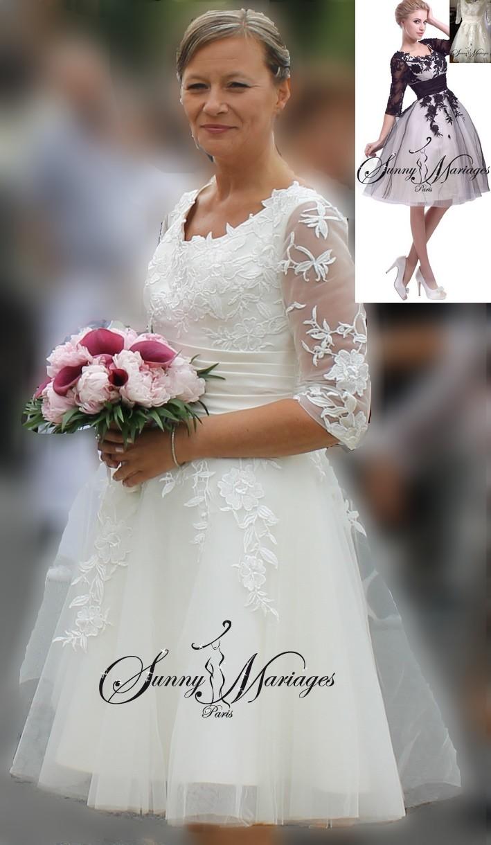 Robe de mariee courte manche en dentelle noir sunny mariage for Jupe a carreaux noir et blanc