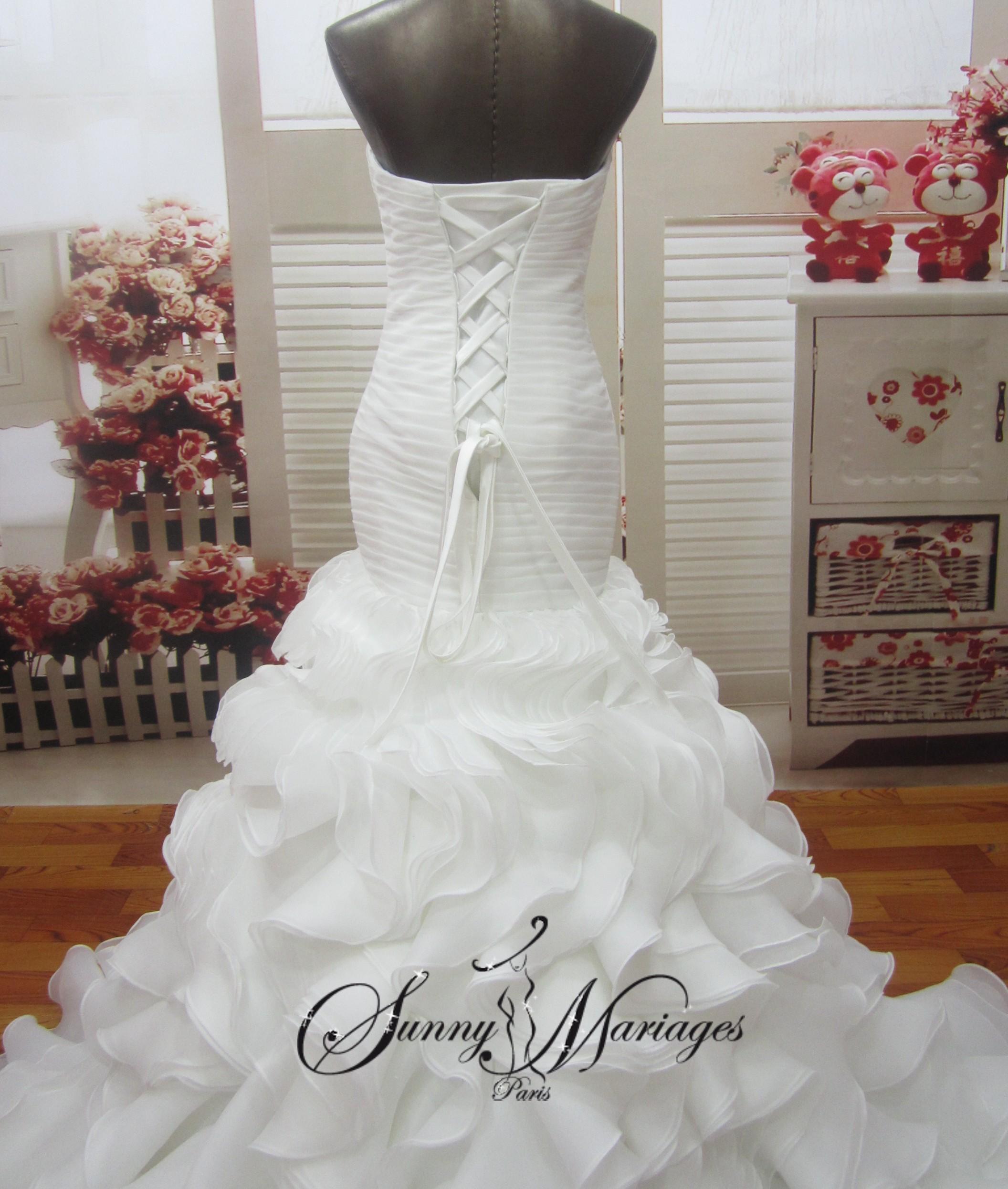 robe de mariee princesse en organza froufrou robe de mariee bustier sunny mariage. Black Bedroom Furniture Sets. Home Design Ideas