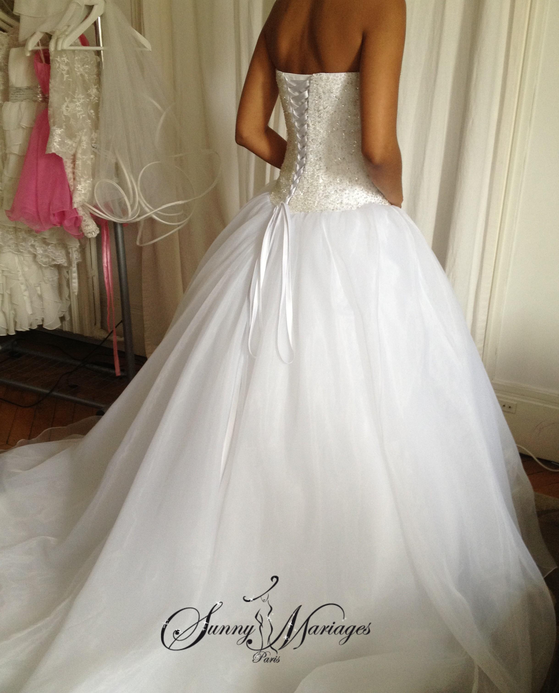 Robe de mariee princesse bustier en perles transparente - Robe de mariee strass ...