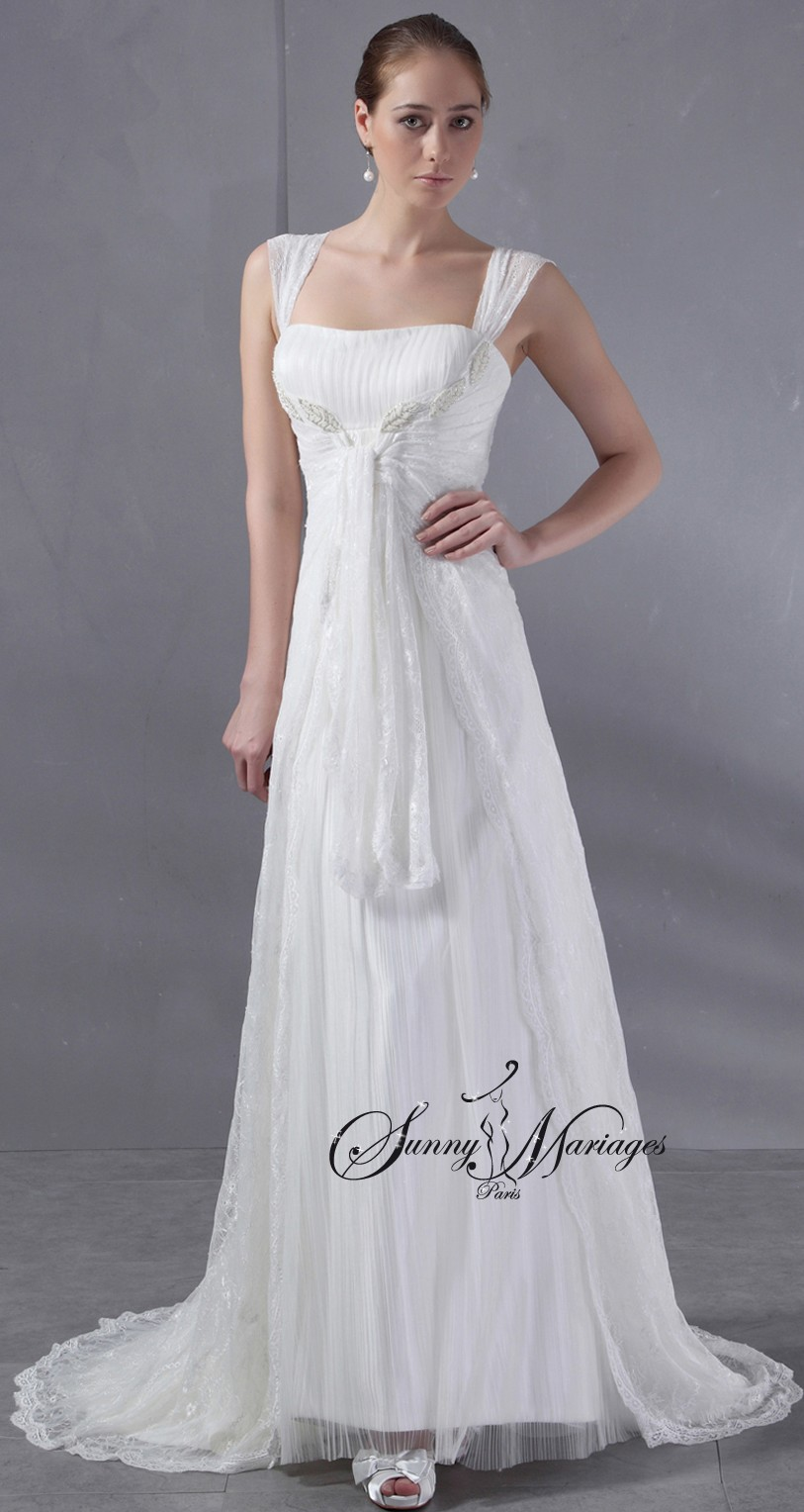 Robe de mariee empire boheme chic en tulle pliss robe de for Robes de mariage empire uk