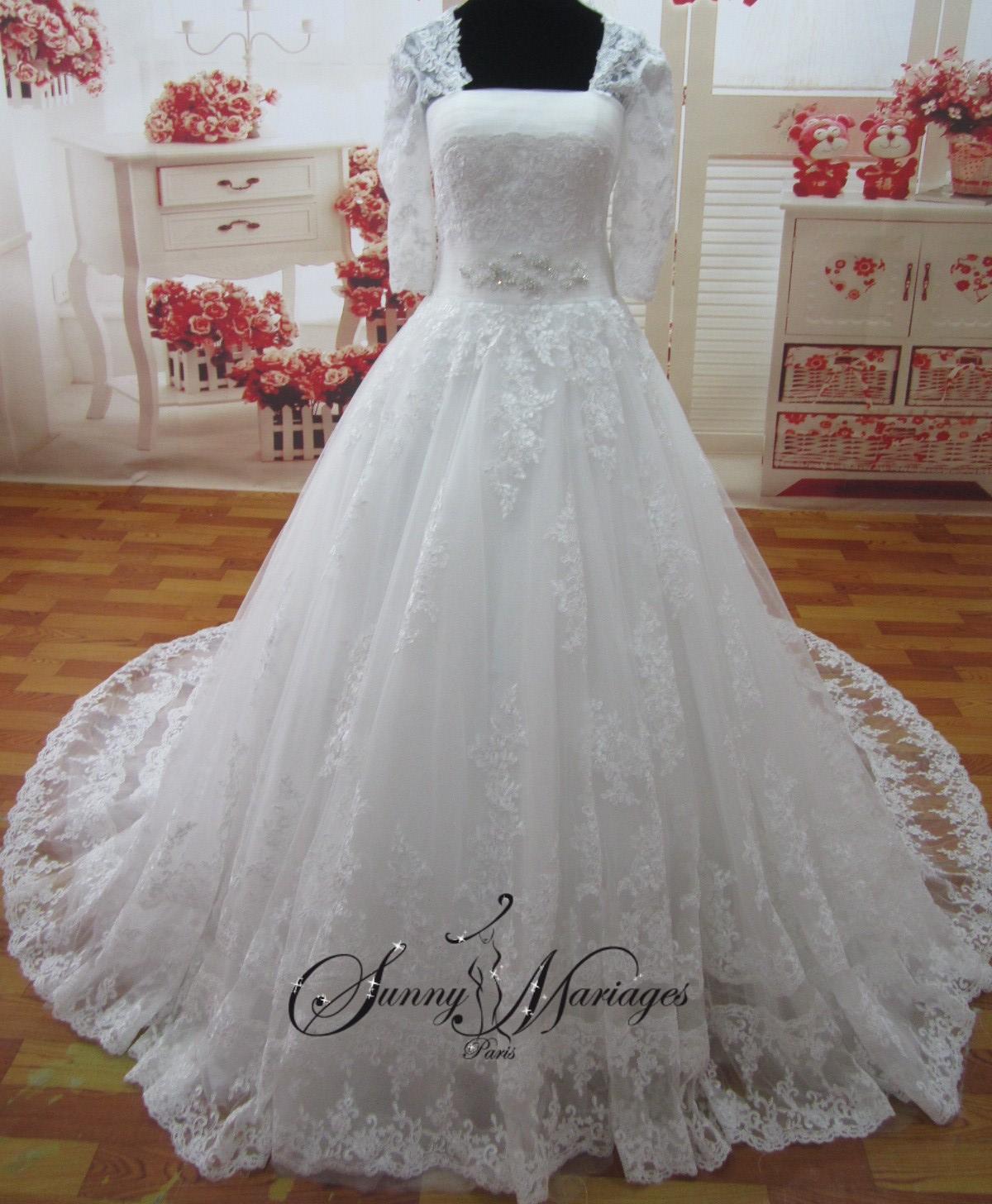 Robe de mari e dentelle princesse manche longue sunny mariage - Robe de mariee sirene dentelle manche longue ...