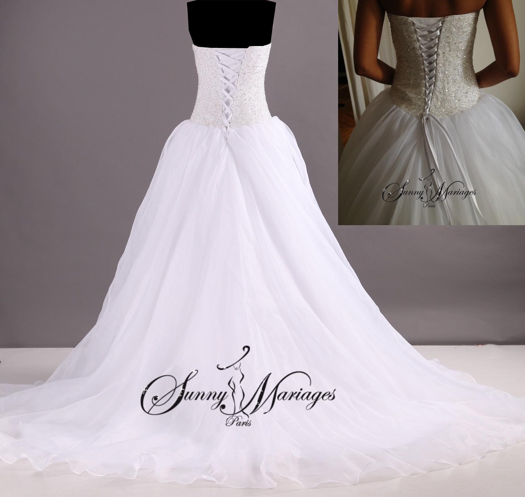 Robe de mariee princesse bustier en perles transparente robe blanche de mariage robe de mariee - Robe de mariee transparente ...