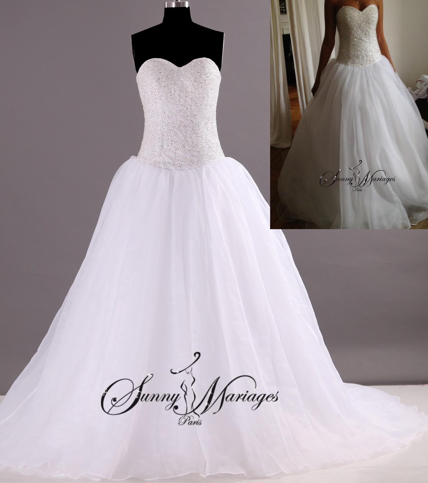 Robe De Mariee Princesse Bustier En Perles Transparente Robe Blanche De Mariage Robe De Mariee Pas Cher Sunny Mariage