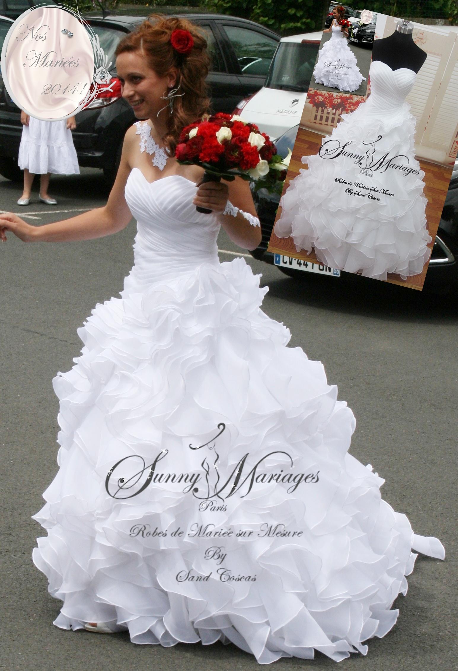 robe de mariée froufrou et bustier drapé