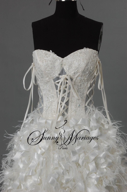 Robe de mariee avec plume pas cher