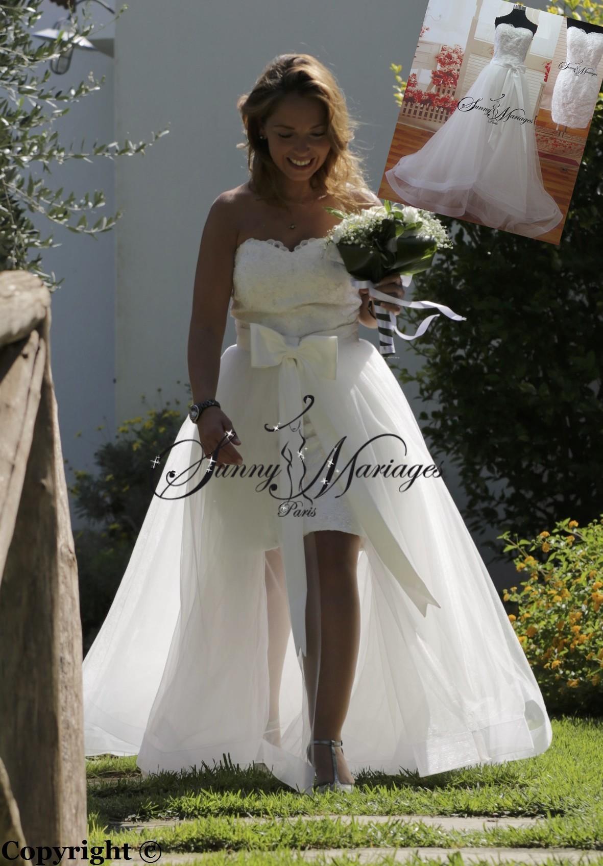 Robe de mariee courte avec une traine