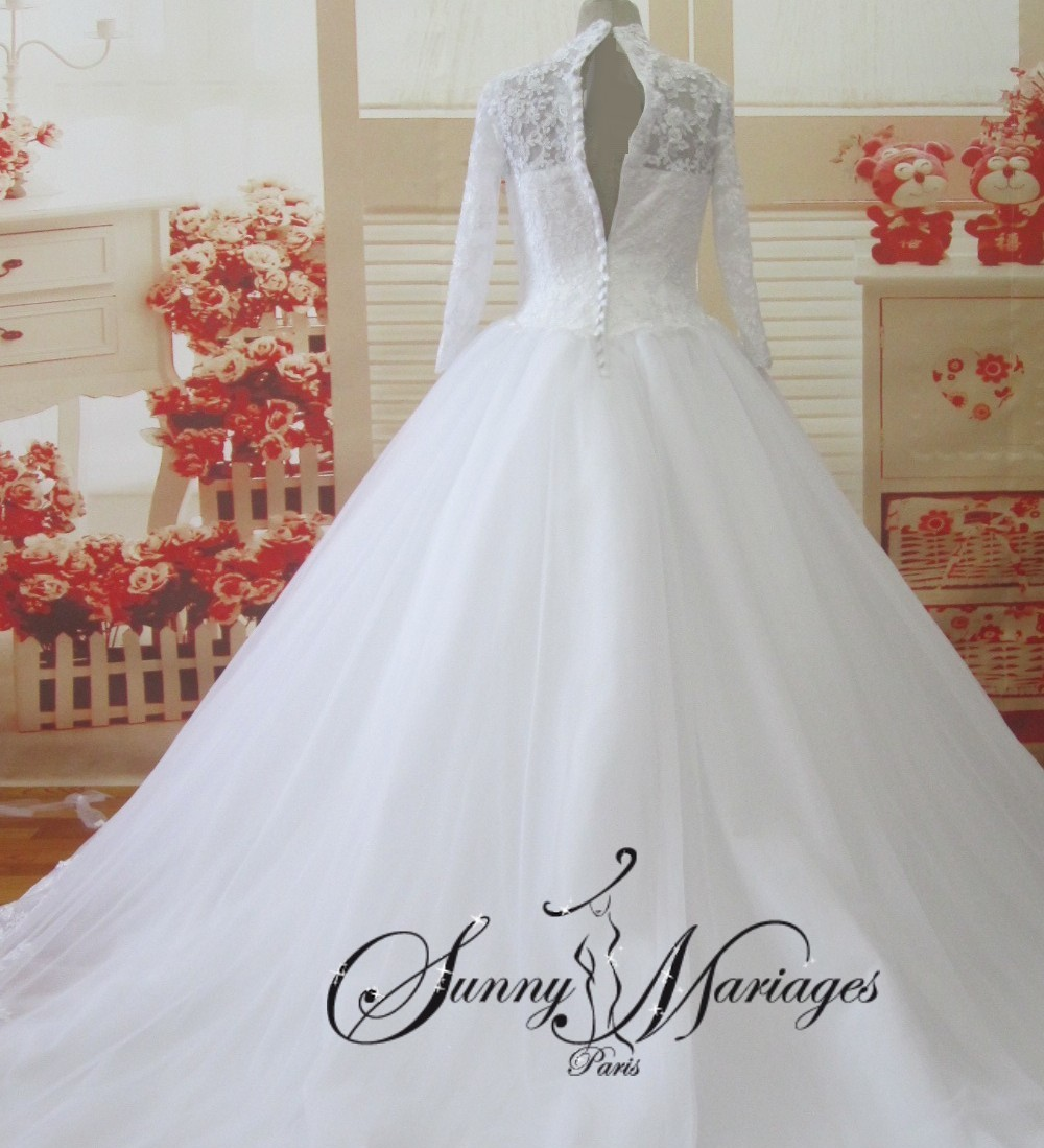 robe de mariee princesse en dentelle avec manche longue sunny mariage. Black Bedroom Furniture Sets. Home Design Ideas