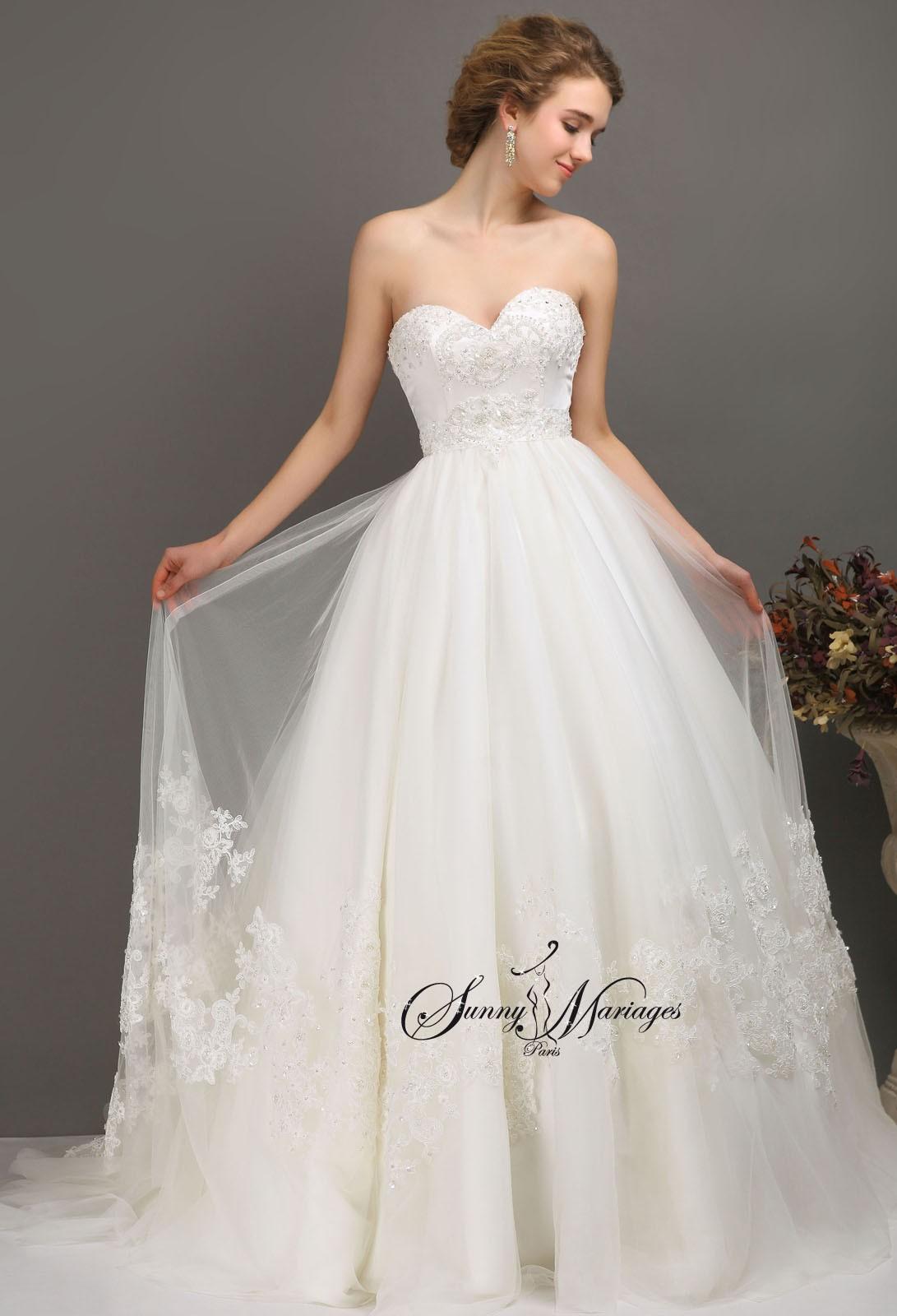 robe de mariee princesse, robe de mariee bustier coeur perlé, robe de ...