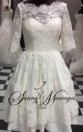 robe de mariage sunnymariages courte et en dentelle avec manches robe de mariee originale vendu en ligne ou sur rendez vous