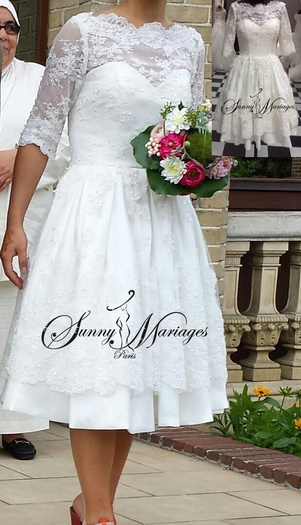 Robe De Mariee Courte En Dentelle Manches 3 4 Bustier Coeur Sunny Mariage
