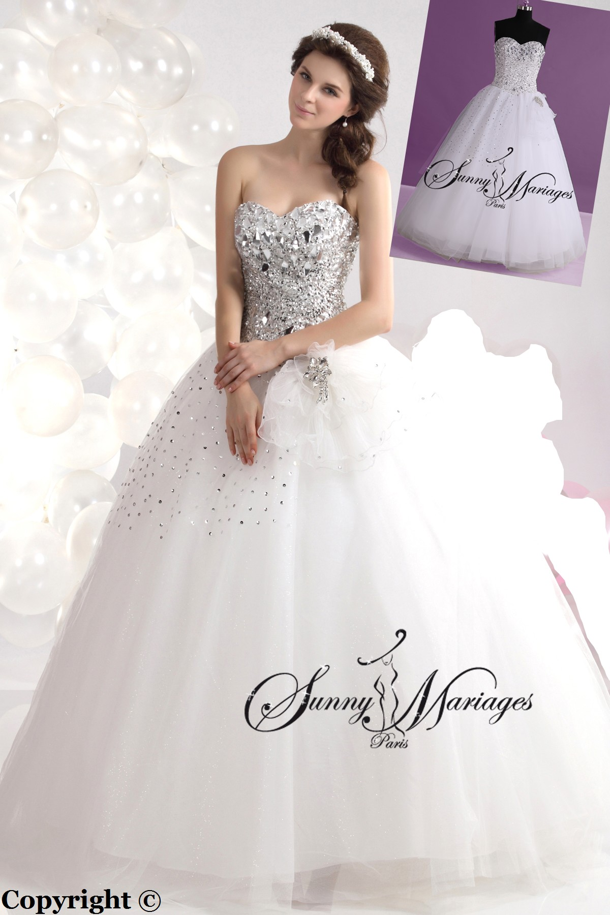 robe de mariage forme princesse blanche avec bustier coeur et sunny mariage. Black Bedroom Furniture Sets. Home Design Ideas