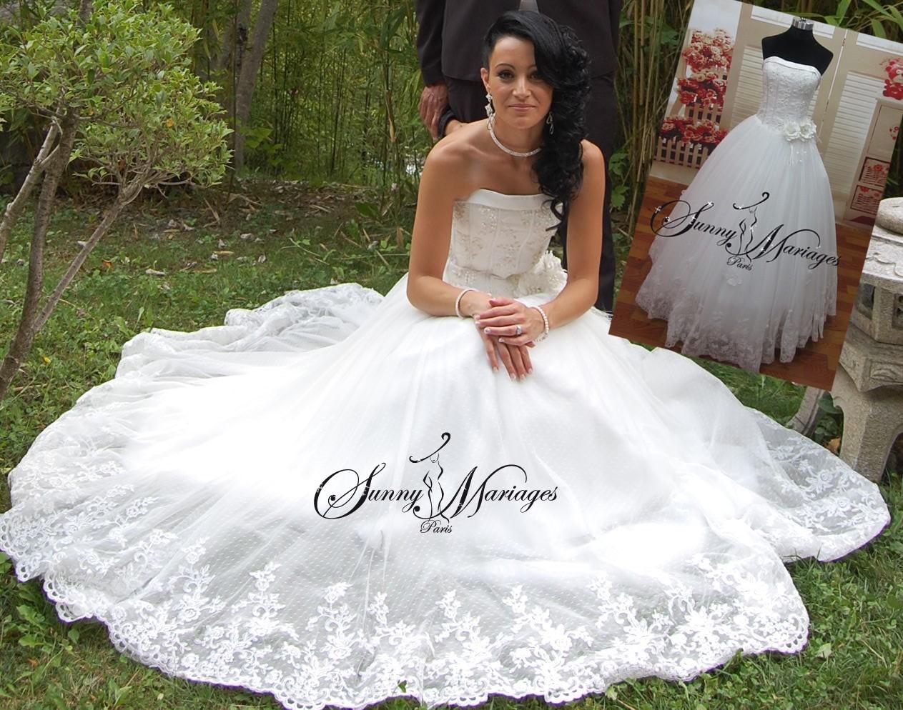Robe de mariage avec ou sans llingue ou courte traine for Robe de mariage et jupe