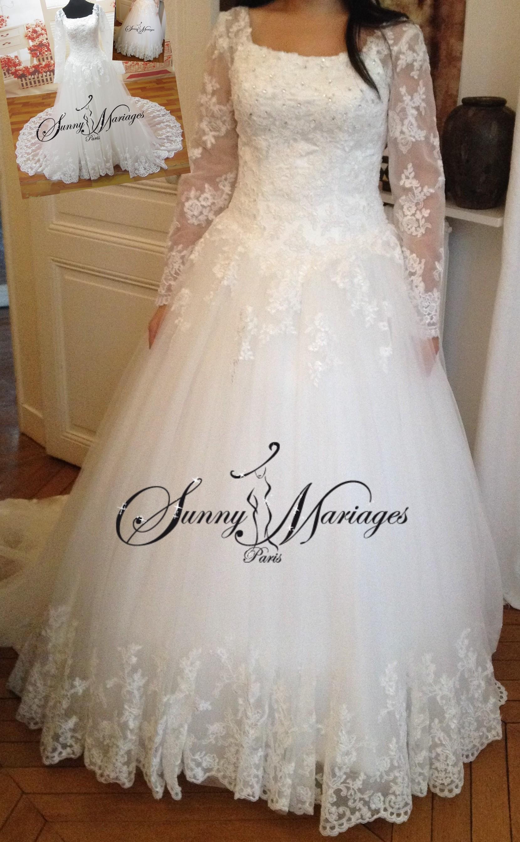 92fc5272417 robe du mariage princesse manches longue et bustier dentelle