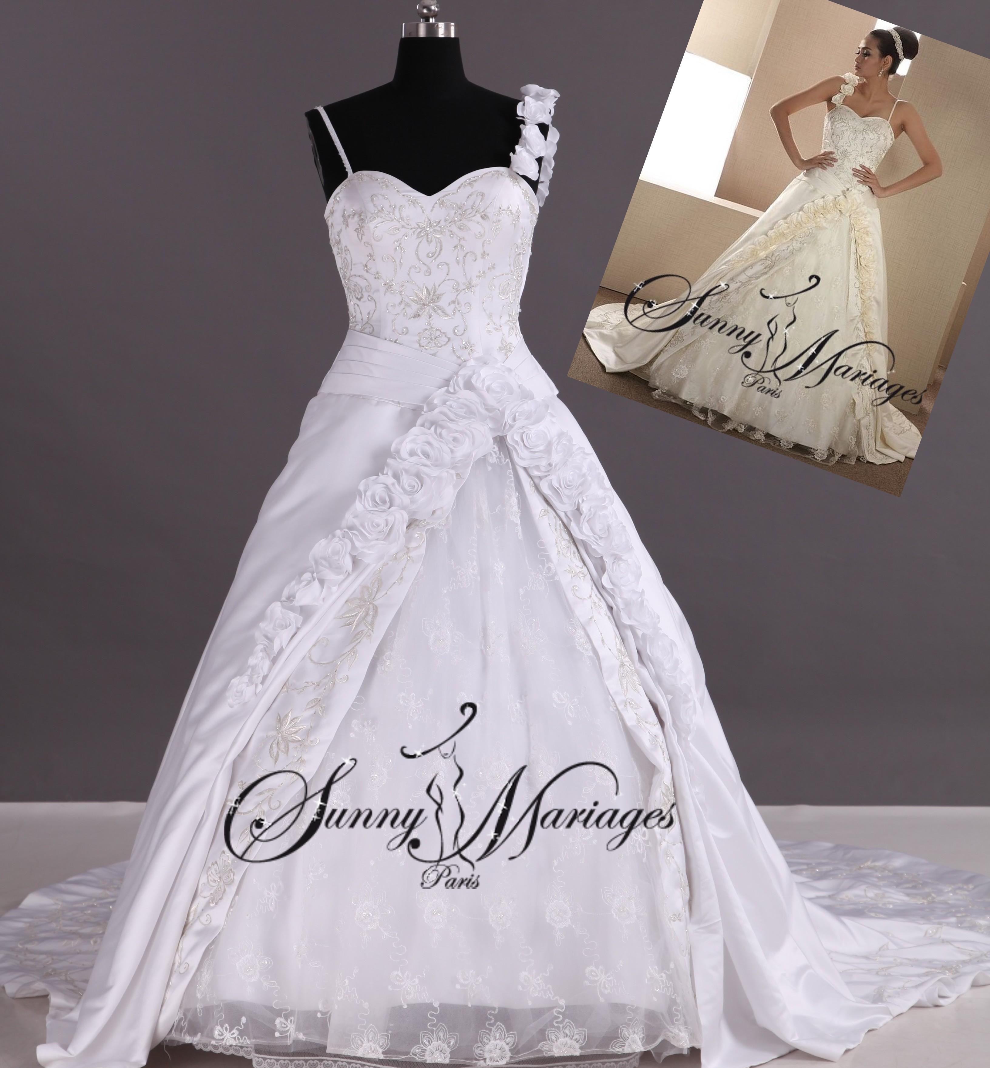 robe du mariage de princesse avec bretelle