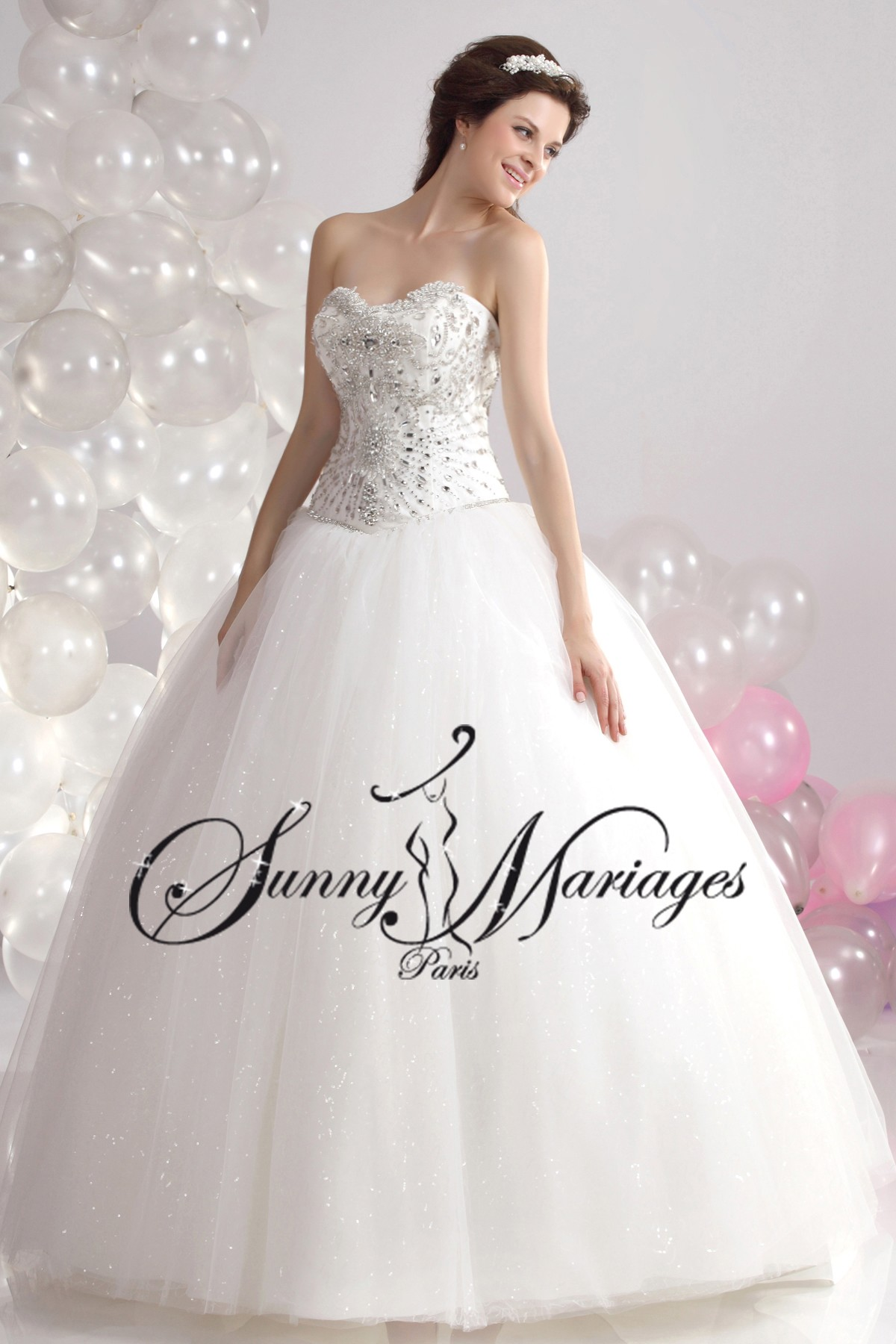 robe de mariee princesse et bustier strass sur mesures sunny mariage. Black Bedroom Furniture Sets. Home Design Ideas