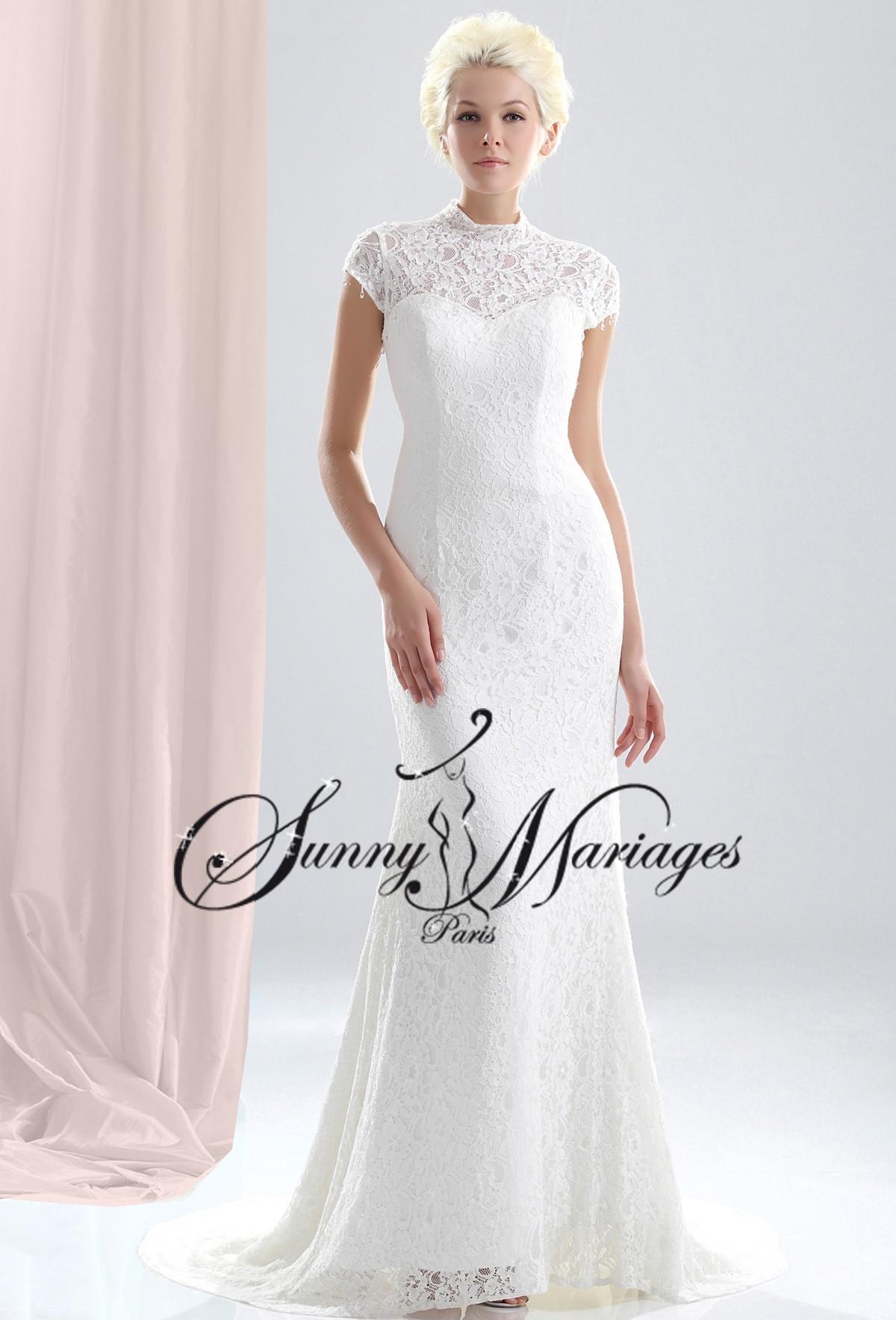 Robe de mariee sirene ou fourreau avec manches en dentelle for Katie peut prix de robe de mariage