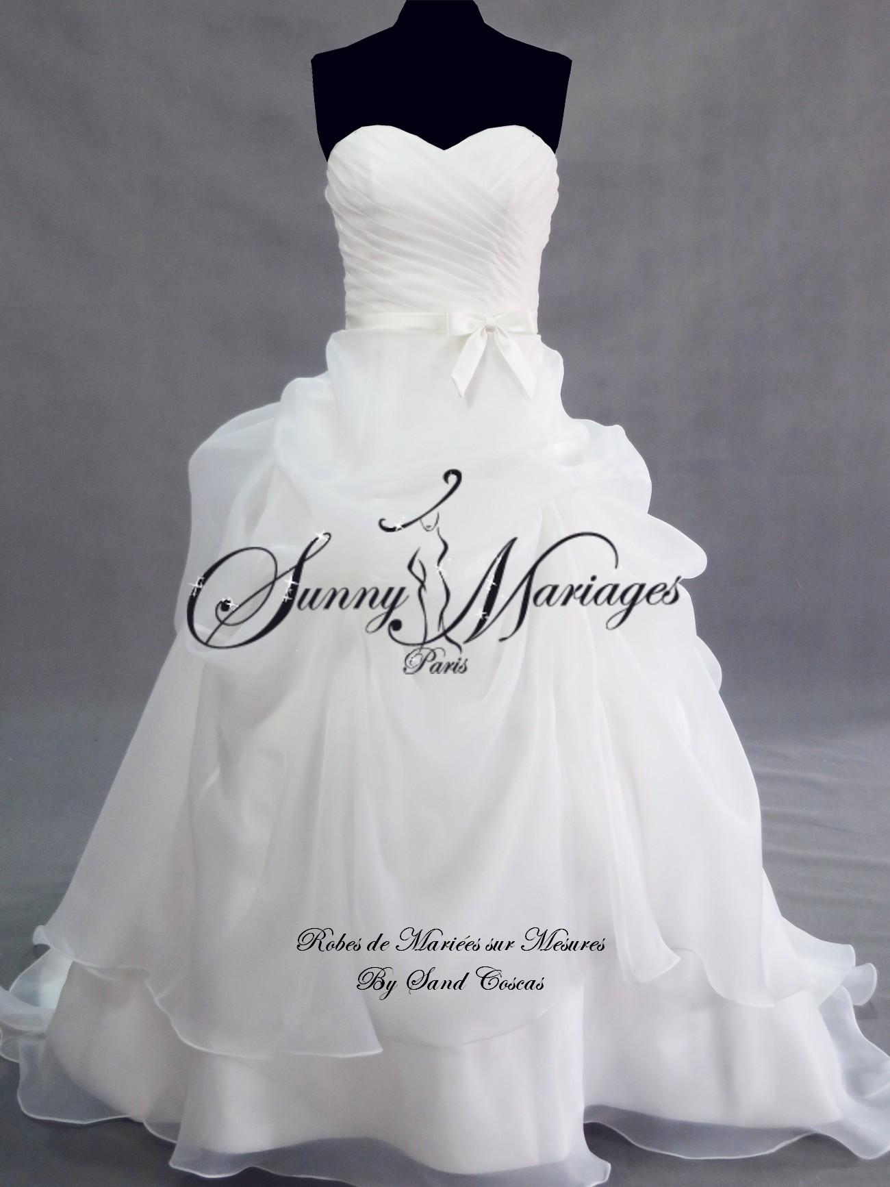 robe de mariee bustier et jupe bouillons