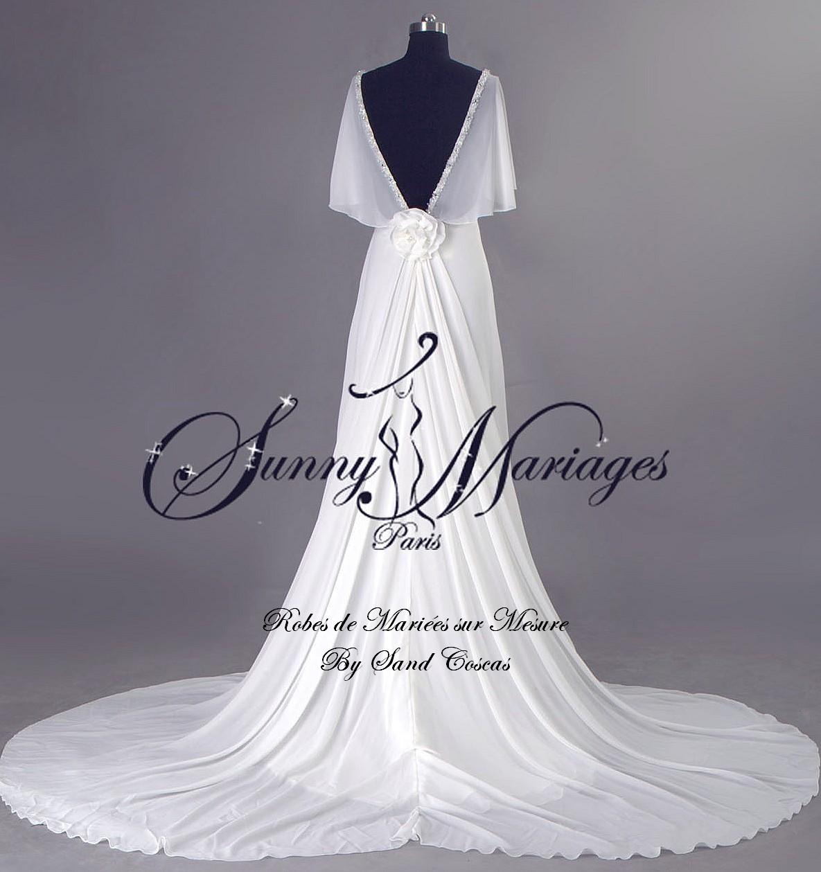robe de mariee empire fluide en mousseline avec manches SUNNY MARIAGE ...