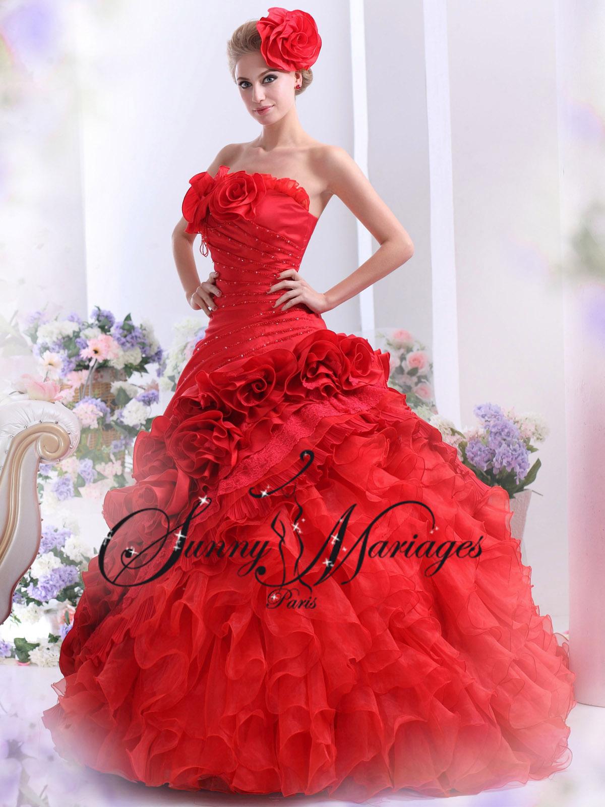 Robes De Mariee Couleur Rouge Noir Ivoire Blanche Sur Mesure