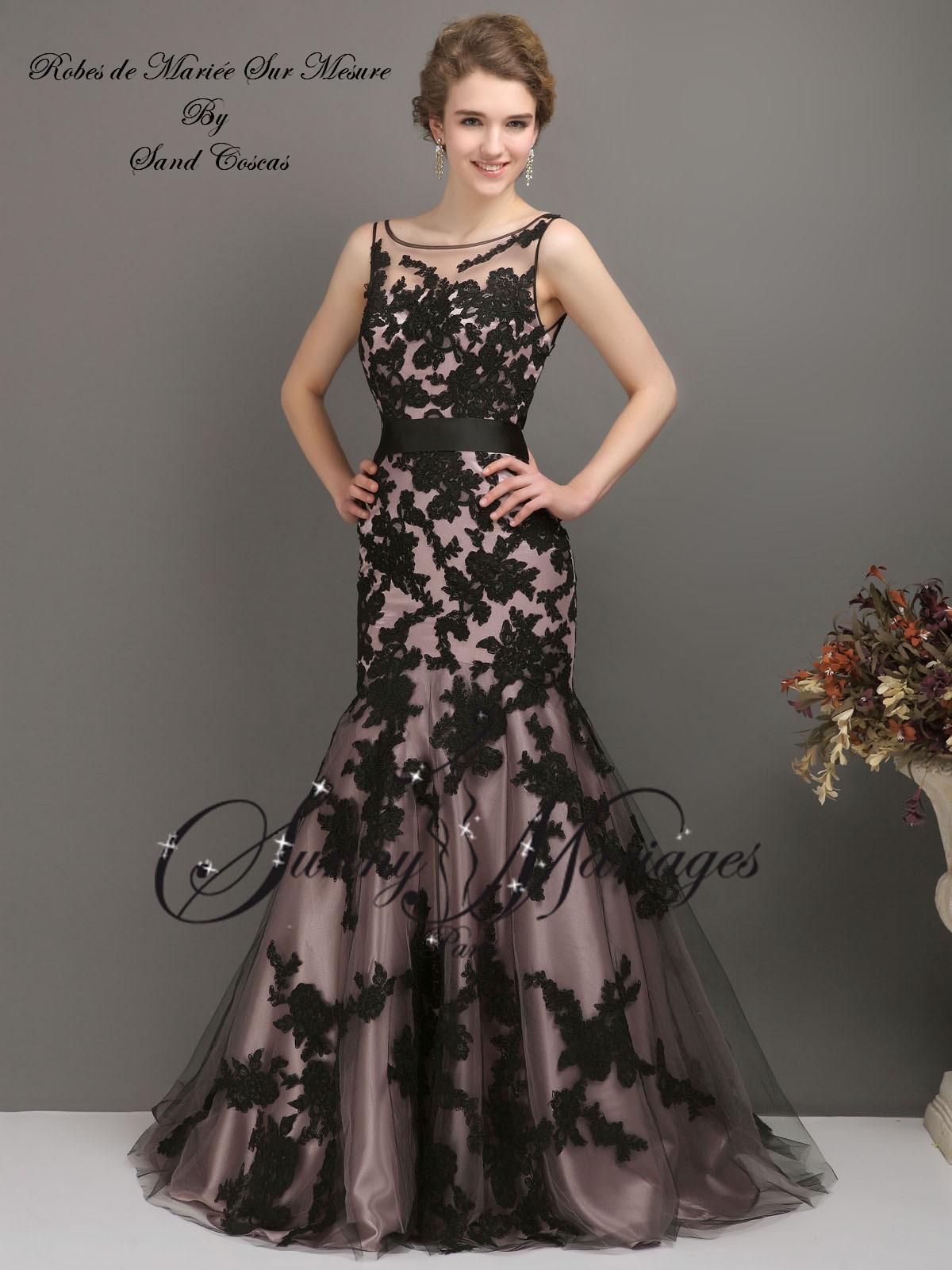 robe de mariée couleur dentelle noire coupe